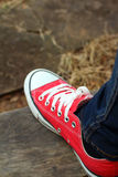 Shoes red on a brown background at the park. Royalty Free Stock Photos