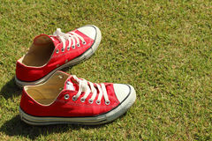 Shoes red on a green grass at the park. Royalty Free Stock Photos