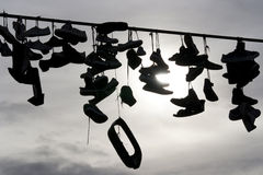 Shoes on the rope Stock Photo