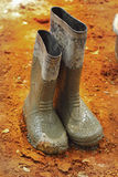 Shoes rubber boots on the ground. Royalty Free Stock Image