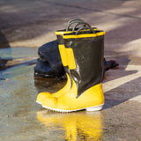 Shoes safety for firefighter Royalty Free Stock Images