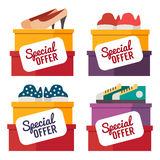 Shoes sale. Vector shopping illustration Stock Images