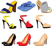 Shoes and sandals. Collection of shoes and sandals Stock Images