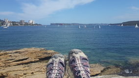 Shoes with Sea & ocean view at Manly, New south wales Royalty Free Stock Image