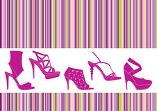 Shoes set. On striped background Stock Images