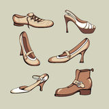 Shoes set. Six retro-style isolated shoes Stock Photos