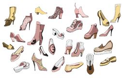Shoes set. Creative conceptual vector. Womans shoes drawing illustration Royalty Free Stock Images