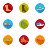 Shoes set icons in flat style. Big collection of shoes vector symbol stock illustration Royalty Free Stock Photo