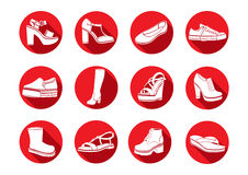 Shoes set of vector flat icons. White Icons sandals, boots, low shoe, ballet slippers, high boot, gumshoes, knee-high stock illustration