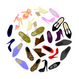 Shoes in shape of circle Royalty Free Stock Photos