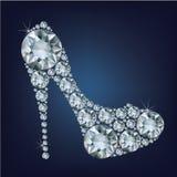 Shoes shape made up a lot of diamond Stock Image