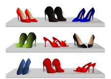 Shoes on shelves. Vector illustration of shelf with various shoes isolated Royalty Free Stock Photo