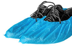 Shoes in shoe covers Royalty Free Stock Photos