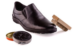 Shoes and shoe cream Stock Photography