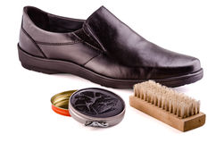 Shoes and shoe cream Royalty Free Stock Images