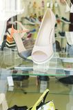 Shoes in the shop window royalty free stock photo