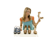 Shoes shopping Stock Images