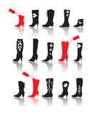 Shoes silhouette collection Royalty Free Stock Photography