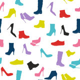 Shoes Silhouette Seamless Pattern Background Vector Illustration Stock Photos