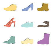 Shoes silhouettes artistic Stock Photos