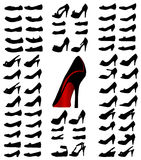 Shoes silhouettes. Black vector illustrations Stock Photography