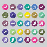 Shoes silhouettes icon set, Stock Photography
