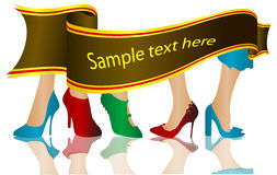 Shoes silhouettes. With sample text Stock Image