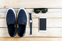 Shoes, smart phone , watch, glasses Stock Image