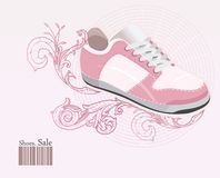 Shoes, sneakers on floral. Vector illustration Royalty Free Stock Photo