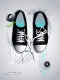 Shoes sneakers  on a gray backgroun. Athletic shoes sneakers  on a gray background Stock Photography