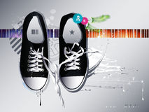 Shoes sneakers  on a gray backgroun Royalty Free Stock Image
