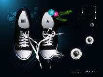 Shoes sneakers  on a gray backgroun. Athletic shoes sneakers  on a gray background Stock Photo