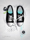 Shoes sneakers vector on a gray backgroun Royalty Free Stock Photo