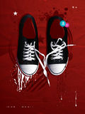 Shoes sneakers vector on a gray backgroun Stock Image