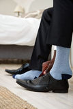 Shoes and socks business man Royalty Free Stock Images