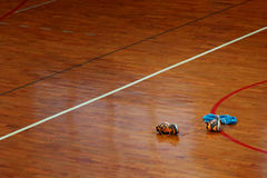 Shoes on sport hall floor Stock Photo