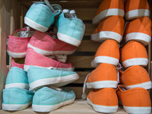 Shoes stacked in the shop sold Stock Image