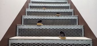 Shoes and stairs royalty free stock photography