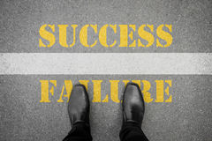 Shoes standing at line - success or failure Stock Images