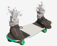 Shoes and standing on skate board Royalty Free Stock Image