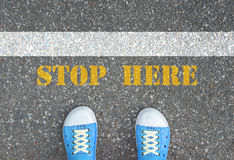 Shoes stop at stop line Royalty Free Stock Photography