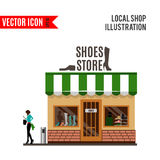 Shoes store detailed flat design icon Royalty Free Stock Photography