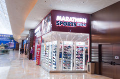 Shoes store in Macao. Macao, China - January 13, 2013: Marathon sports shoes store in Macao shopping mall Stock Image