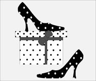 Shoes & Stylish Gift Box Royalty Free Stock Image