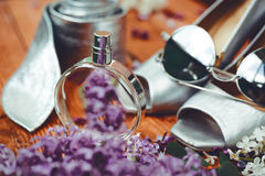 Shoes with sunglasses and perfume. Composition of female accessories. Shoes with sunglasses and perfume Stock Images