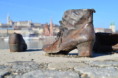 Shoes symbolizing the massacre of Jewish people shot at the river Danube in Budapest in the second world war Stock Image