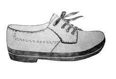 Shoes with laces pencil graphics. Shoes with thick soles and with laces pencil graphics Stock Photography