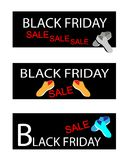 Shoes on Three Black Friday Sale Banners Royalty Free Stock Images