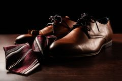 Shoes with tie and cuff. Male accessories. Shoes with tie and cuff Stock Image