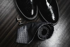 Shoes with tie and cuff. Man`s style. Men`s Accessories. Shoes with tie and cuff Stock Image